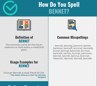 Correct spelling for bennet