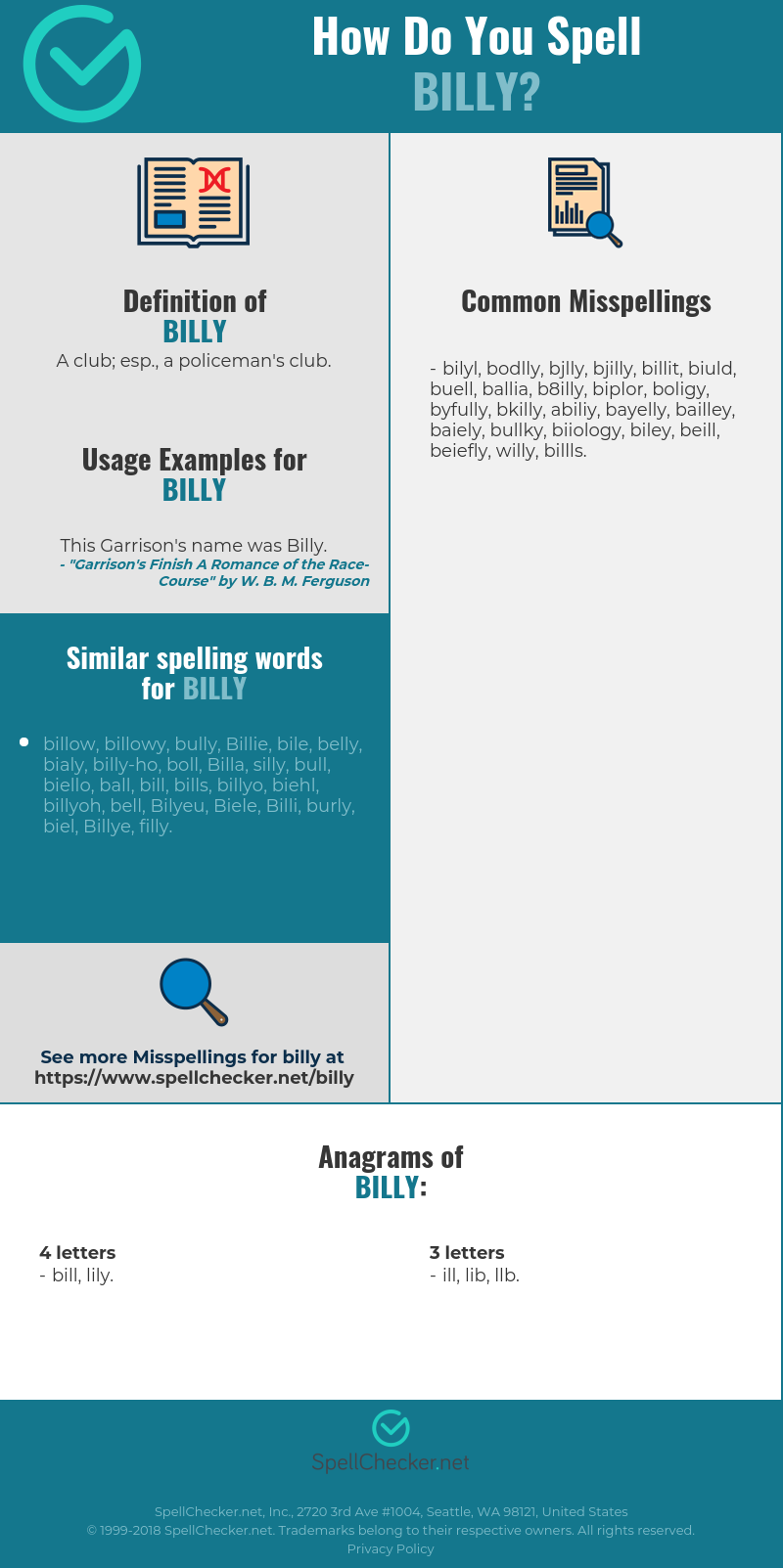 Correct spelling for billy [Infographic] | Spellchecker.net