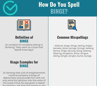 Correct spelling for binge