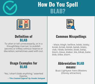 Correct spelling for blab