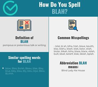 Correct spelling for blah