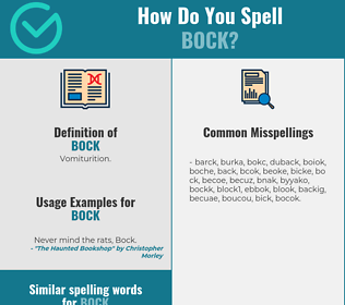 Correct spelling for bock