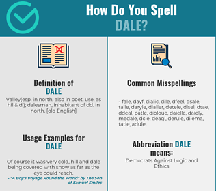 Correct spelling for dale