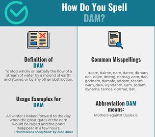 Correct spelling for dam