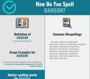 Correct spelling for damson