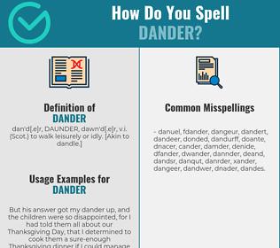 Correct spelling for dander