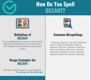 Correct spelling for decant