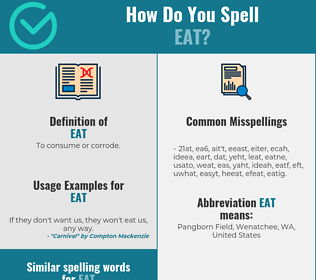 Correct spelling for eat