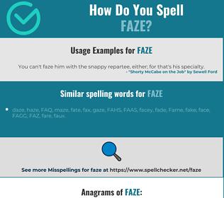 Correct spelling for faze