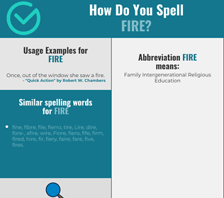 Correct spelling for fire