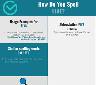 Correct spelling for five