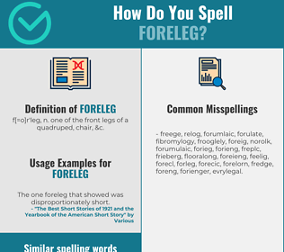Correct spelling for foreleg