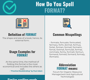 Correct spelling for format