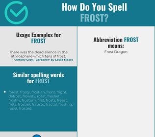 Correct spelling for frost