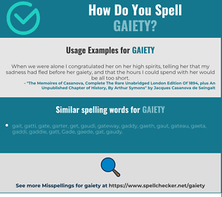 Correct spelling for gaiety