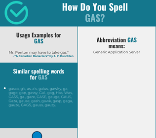 Correct spelling for gas