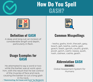 Correct spelling for gash