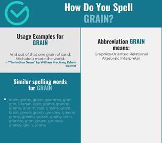 Correct spelling for grain