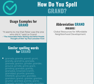 Correct spelling for grand