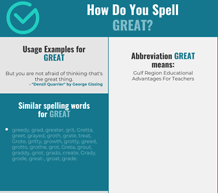 Correct spelling for great
