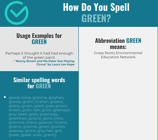 Correct spelling for green