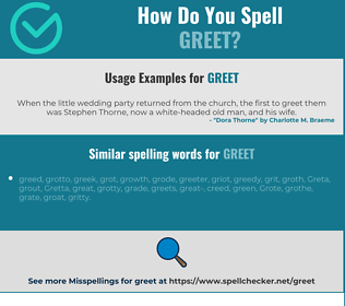 Correct spelling for greet