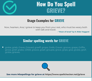 Correct spelling for grieve