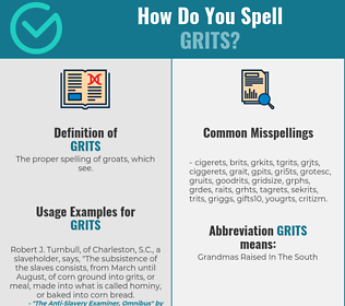 Correct spelling for grits
