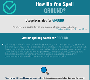 Correct spelling for ground