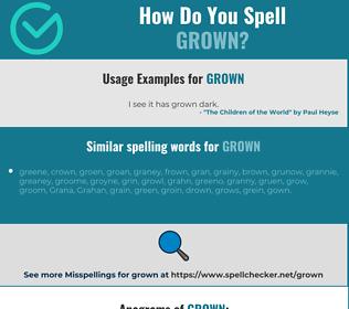 Correct spelling for grown