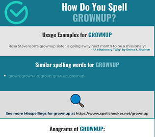 Correct spelling for grownup