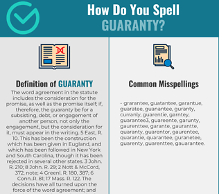 Correct spelling for guaranty