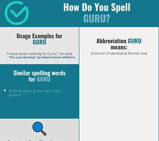 Correct spelling for guru