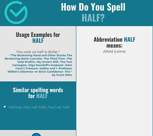 Correct spelling for half
