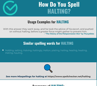 Correct spelling for halting