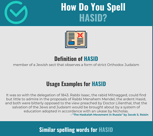 Correct spelling for hasid