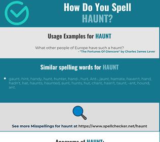 Correct spelling for haunt