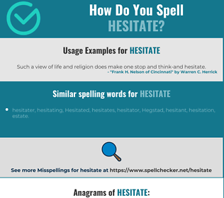 Correct spelling for hesitate