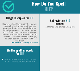 Correct spelling for hie