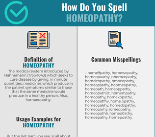 Correct spelling for homeopathy