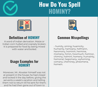 Correct spelling for hominy