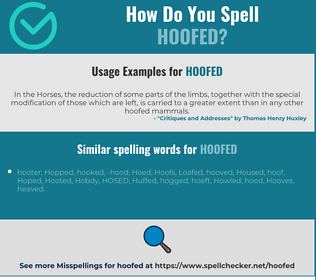 Correct spelling for hoofed