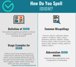 Correct spelling for idiom