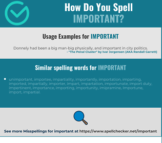 Correct spelling for important