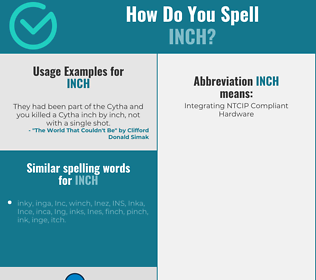 Correct spelling for inch