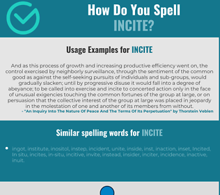 Correct spelling for incite