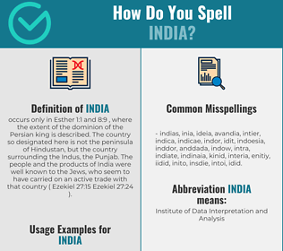 Correct spelling for india