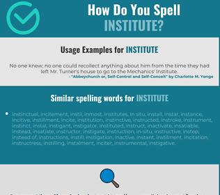 Correct spelling for institute