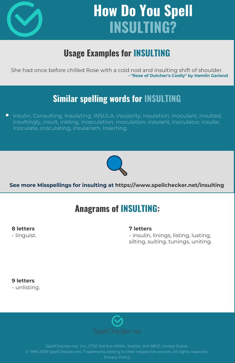 Correct spelling for insulting [Infographic] | Spellchecker net