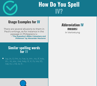 Correct spelling for iv